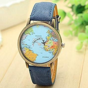 Hykis - Mini Mundo de Cuarzo Reloj de Manera Unisex Mapa Avión Viajar Alrededor del Mundo Las Mujeres de Cuero del Vestido de Relojes de Pulsera [Azul]: ...
