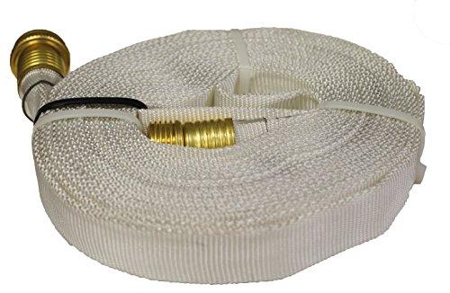 Wasp Forestry Grade Lay Flat Hose with Garden Thread, 25', White