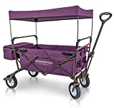 WonderFold Outdoor 2017 All New Collapsible Canopy Folding Wagon Utility Cart with 180 Degree Steering Telescoping Handle with Spring Bounce, Auto Safety Locks, Rubber Tire, and Stand, Tyrian Purple