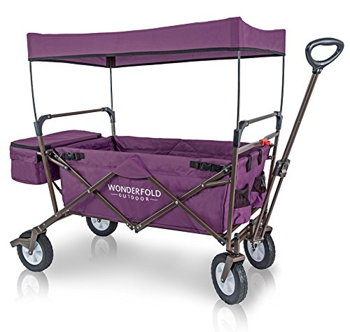 Wonder Wagon - WonderFold Outdoor 2017 All New Collapsible Canopy Folding Wagon Utility Cart with 180 Degree Steering Telescoping Handle with Spring Bounce, Auto Safety Locks, Rubber Tire, and Stand, Tyrian Purple