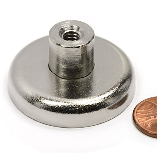 CMS Magnetics 2 Pack Neodymium Cup Magnets w/Female Threaded Stud 112 LBS Pull Power Each ()