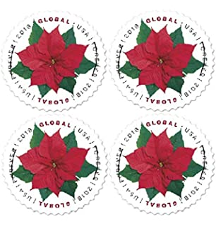 2018 Global Poinsettia Forever Stamps Good For 1 Oz International First Class Mail Block
