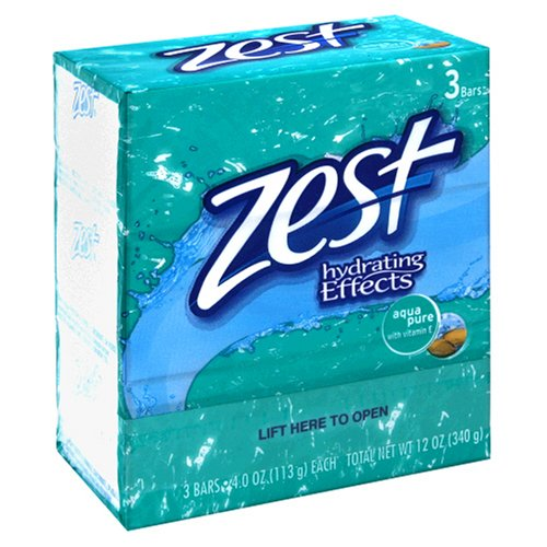 Zest 3 Bar Aqua Pure Soap, 4 oz