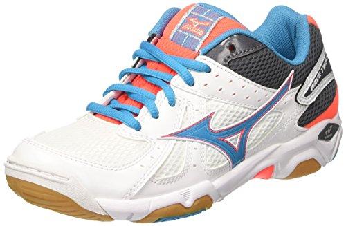 Mizuno Wave Twister WOS, WoMen Sport Shoes Multicolour (White/Atomicblue/Fierycoral 84)