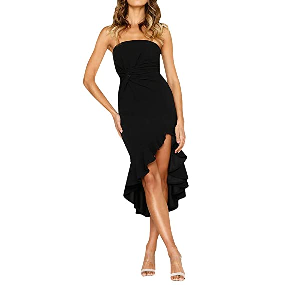 3bfeedcb04437 HEHEMAUD Women Solid Color Sleeveless Dinner Evening Party Ruffle Wrap Dress  Black Pink S/M/L/XL: Amazon.co.uk: Clothing