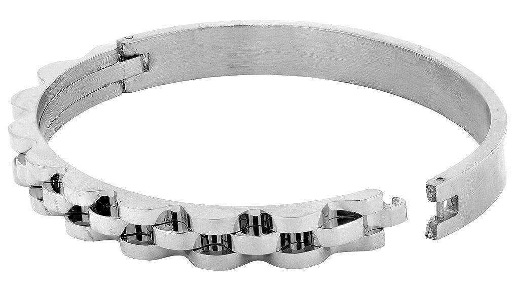The Jewelbox Italian Rhodium 316L Surgical Stainless Steel Bangle Cuff Kada Bracelet Men