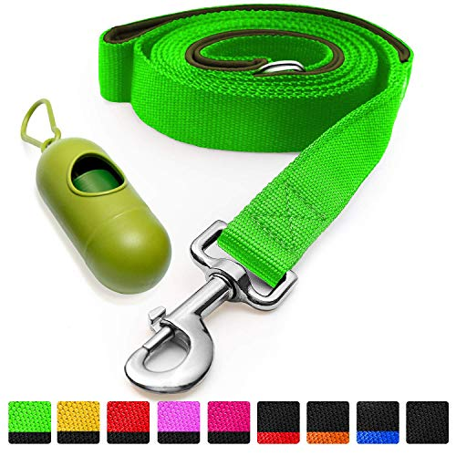 [Strong] Dog Leash with Bonus Free Waste Bag Dispenser - Thick Padded Dual Handles, Includes Poop Bags & 100% Nylon (6ft. Long) - Comfortable Grip - Ideal for Large, Medium and Small Dogs
