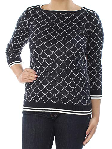 3/4 Sleeve Hilfiger Tommy - Tommy Hilfiger Womens Large Boat Neck Rope Print Sweater Blue L