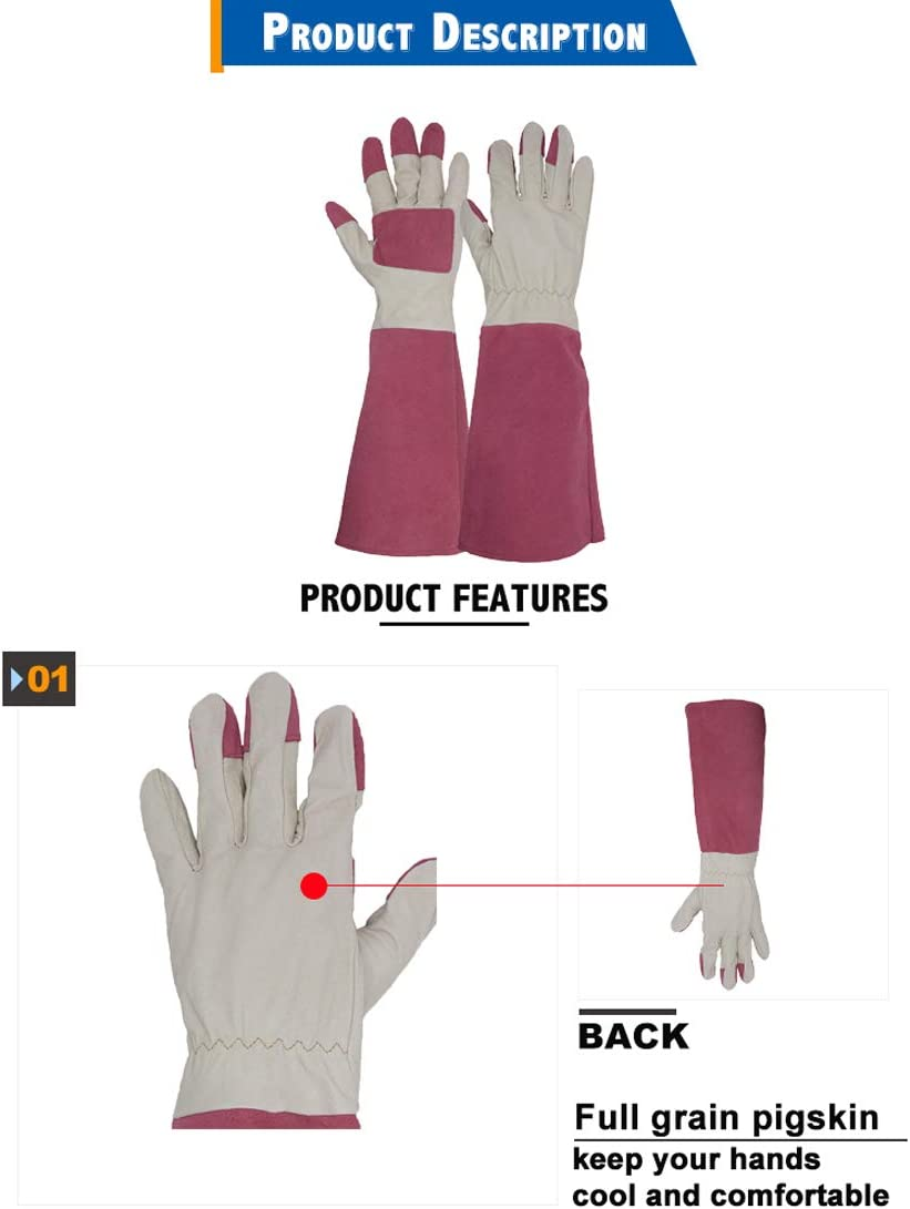 Rose Pruning Floral Gauntlet Garden Gloves,Thornproof Leather Gardening Gloves Long Sleeve For Women and Men Breathable Pigskin Leather Gauntlet Medium, Beige