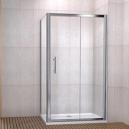 1200 x 800 mm deslizante de ducha recinto 6 mm vidrio puerta de ducha con Panel lateral + bandeja + residuos: Amazon.es: Hogar