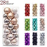 AMS 40mm/28ct Christmas Ball Mini Plating Ornaments Tree Collection for Holiday Parties Decoration (1.57''?Champagne)
