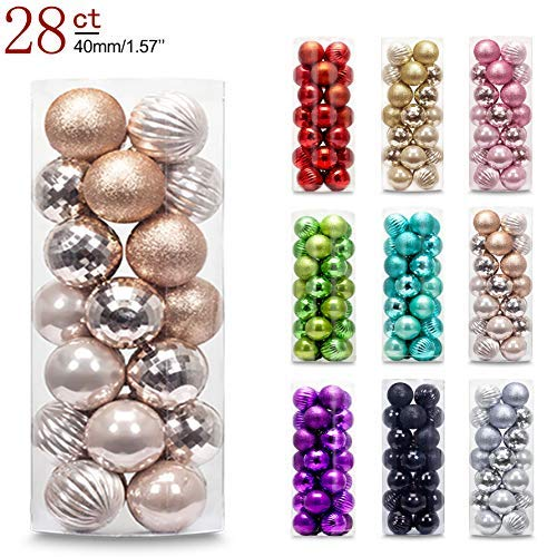 AMS 40mm/28ct Christmas Ball Mini Plating Ornaments Tree Collection for Holiday Parties Decoration (1.57,Champagne)