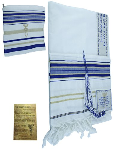 (New Covenant Prayer Shawl Tallit English/Hebrew with Matching Case, Royal Blue, L)