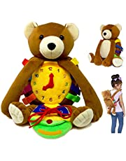 "BUCKLE TOY ""Billy"" Backpack Bear – Toddler Life Skills Plush Travel Activity. Learn to Snap, Zip, Button, Tell Time, Tie Shoes and more"