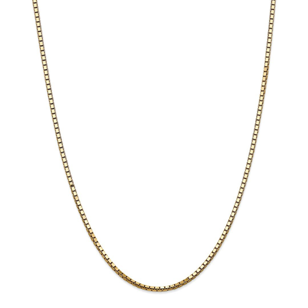 ICE CARATS 14k Yellow Gold 2.5mm Link Box Chain Necklace 24 Inch Fine Jewelry Gift Set For Women Heart