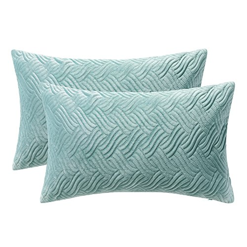Artcest Set of 2, Decorative Velvet Bed Throw Pillow Case, Sofa Soft Quilted Pattern, Comfortable Couch Cushion Cover (Seafoam, 12x20 (Quilted Accent)
