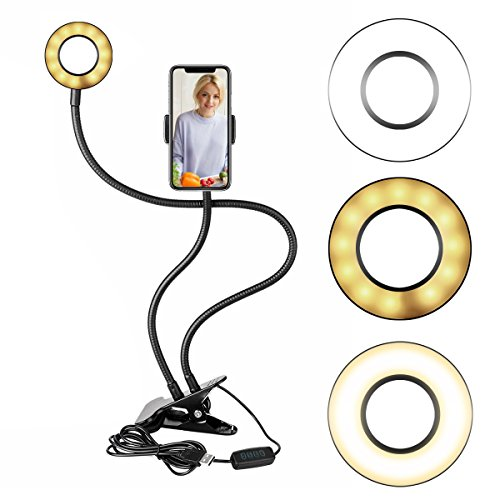 Dimmable Selfie Ring Light with Cell Phone Holder Stand for Live Stream[3-Light Mode][9-Level Brightness], Gooseneck LED Fill In Light Phone Holder for Youtube, Facebook, iPhone X/8/7,6/plus,Samsung by BUYINSOON