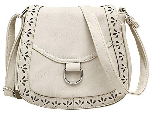 Messenger Belt Hollow 1 Bag White Shoulder Women's Hobo Bag Front Crossbody PU Bag 6qz5w8