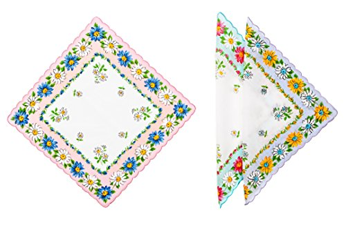 Women's 6-pc Handkerchiefs (Print # 1) in Floral Print 100% Cotton with Scalloped Edge in 3 Colors