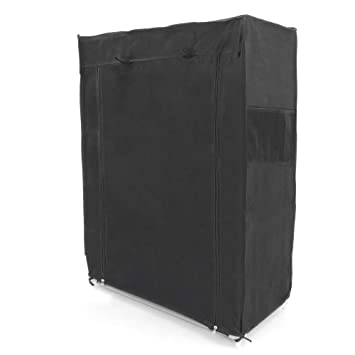 Garderobe Stoffschrank Faltschrank Kleiderschrank 70 x 45 x 155 cm grau mit Rolltor PrimeMatik