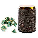 Dolity 7X Metal Polyhedral Dice For Dungeons And Dragons Board Games Accessory+Dice Cup #A