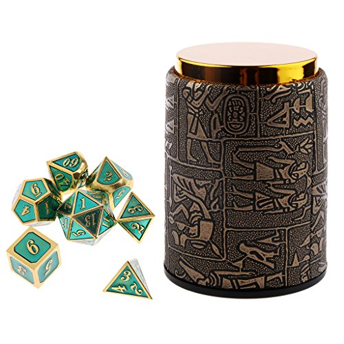Dolity 7X Metal Polyhedral Dice For Dungeons And Dragons Board Games Accessory+Dice Cup #A by Dolity