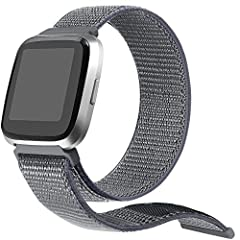 bayite Nylon Loop Replacement Band compatible with Fitbit Versa Fitness Smart WatchThis top notch wristband is made of finest quality nylon, lightweight, extremely durable and comfortable. The fine craft makes the band easy to install and tak...