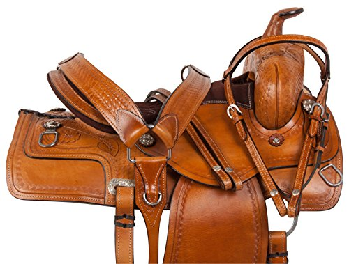 WESTERN PLEASURE TRAIL RANCH ROPING ROPER PLEASURE TRAIL HORSE LEATHER SADDLE FREE TACK 16 17 18 (18)