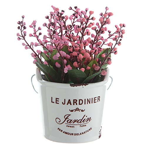 The Most Beautiful Artifical Flowers In The World/Decorative Jequirity Plants In White Porcelain Pot With White Vases/The Best Choice For Home And Office Decration(Red) (In Artificial Beautiful Vase Flowers)