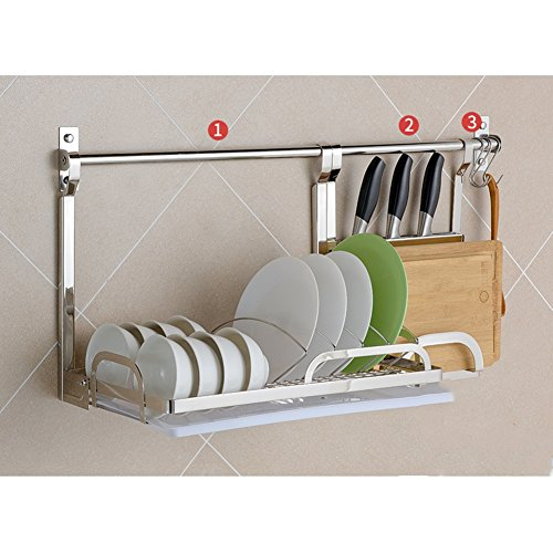 Rod Iron Bakers Rack - LXLA- 304 Stainless Steel Kitchen Shelf Wall-mounted Seasoning Supplies Storage Rack On The Wall Pendant Tableware Chopping Board Pot Lid Dishes (Color : Style 3)