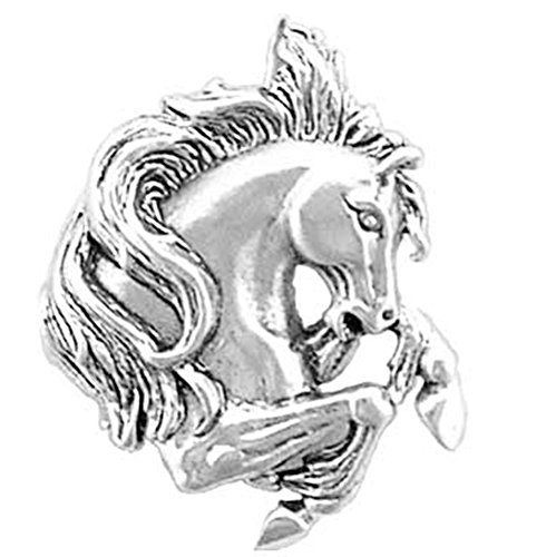 925 Sterling Silver Rearing Stallion / Horse / Mustang Head Pendant Charm