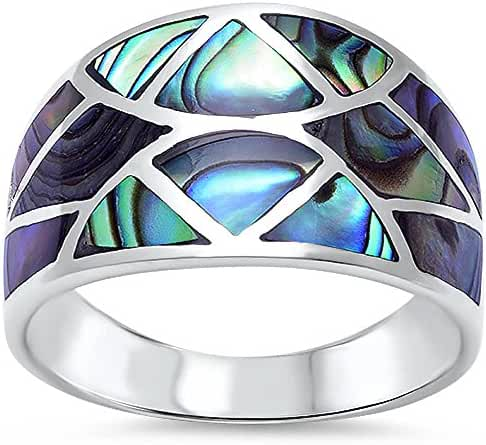 New Abalone Shell Design Fashion .925 Sterling Silver Ring Sizes 5-10