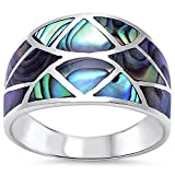 New Abalone Shell Design Fashion .925 Sterling Silver Ring Size 6