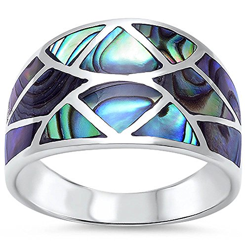 Diamond Shell Ring - New Abalone Shell Design Fashion .925 Sterling Silver Ring Size 10