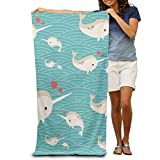Shower Curtain pillow Love Baby Narwhal Adults Cotton Beach Towel 31'' X 51''