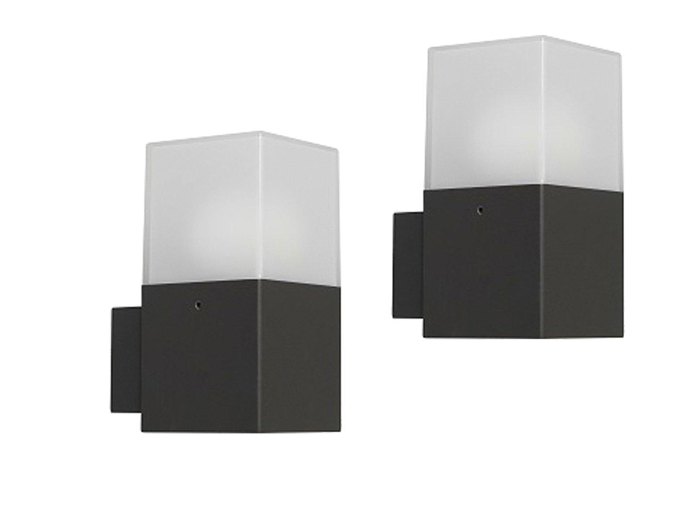 Set led applique da parete alluminio plastica rettangolare
