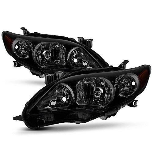 ACANII - For Black Housing Smoke Lens 2011 2012 2013 Toyota Corolla Headlights Headlamps Driver + Passenger -