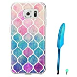 Happy Hours - Luxury Style Colorful Painted Hard PC Protective Case Cover for Samsung Galaxy S7 with Feather Stylus and Luminous Dust Plug(Multicolor B)