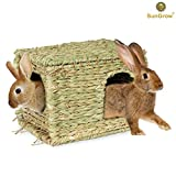 SunGrow Folding Woven Grass House for Rabbits, Guinea Pigs, Bunnies : Provides Comfort, Warmth & Security by Satisfying Natural Instincts: Multi-Utility, Edible, Non-Toxic, Chew Toy for Small Animals