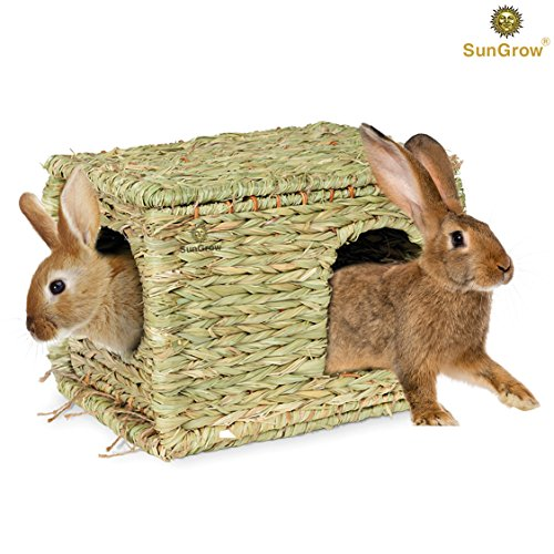 SunGrow Grass House, 11.8-inches by 7.8-inches by 9-inches, Folding Woven Hut for Laying or Sleeping, Edible Chew Home, Multi-Utility Toy for Small Animals (Hiding House Rabbit)