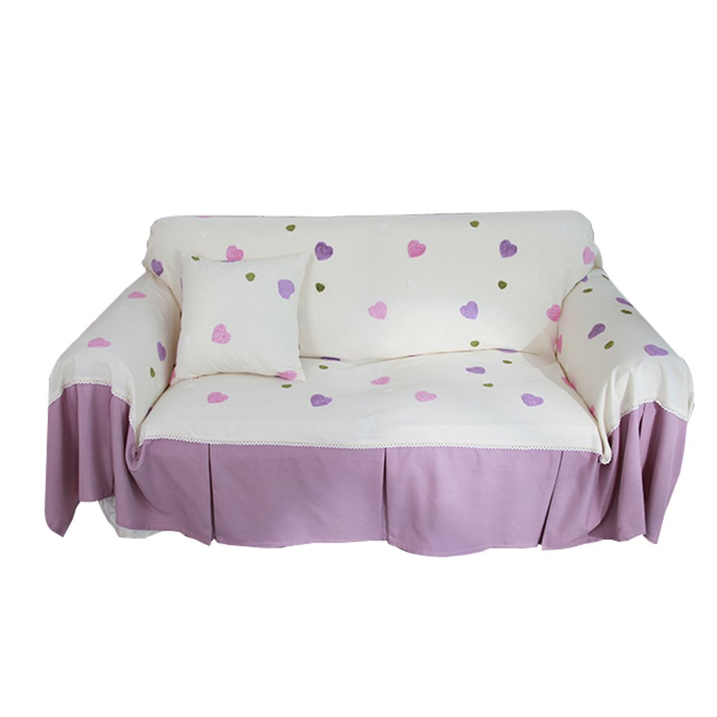 Sofa Towel Purple Dust-Proof Full Cover Tight Pack Non-Slip Home Thicken Simple Heart Pattern Double Color Hemp Sofa Cover Cloth Beautifully Patterned (Size : 360cm180cm)