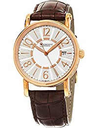 Classic Brown Leather Strap Silver Dial Rose Gold Automatic Swiss Watch CH-2821LLRCLSI