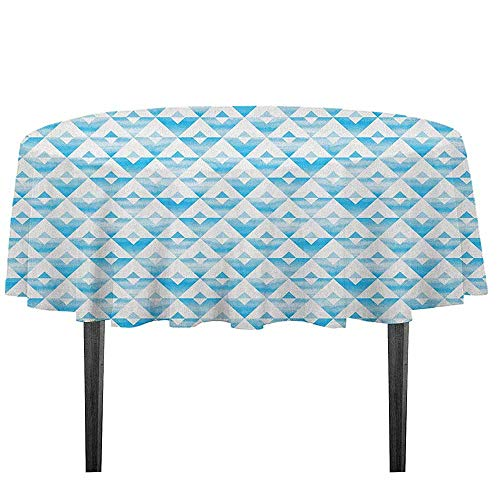 kangkaishi Modern Washable Tablecloth Geometric Contemporary Shapes Triangle Line with Clear Cloud Backdrop Image Desktop Protection pad D51.18 Inch Pale and Baby Blue ()