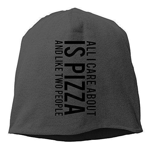 YUVIA ALL I CARE ABOUT IS PIZZA Men's&Women's Patch Beanie WalkBlack Hats For Autumn And Winter