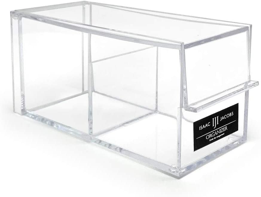 """Isaac Jacobs 2-Compartment Rectangular Clear Acrylic Organizer with Lid (6.75"""" L x 3"""" W x 3.25"""" H), Tea Bag Holder, Multi-Sectional Tray, Stackable, Storage Box, for Kitchen, Bathroom, Office & More"""
