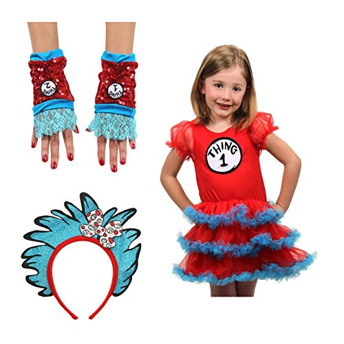 [Thing 1 and 2 Tutu Glovettes Headband Costume Bundle Set] (Thing 1 And Thing 2 Costume With Tutu)