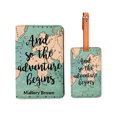 Personalized Passport Holder Luggage Tag Set - And So The Adventure Begins