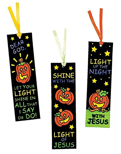 Color Your Own Fuzzy Halloween Christian Pumpkin Bookmarks