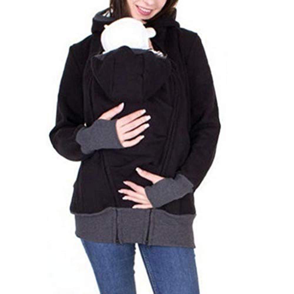 Malloom ropa de maternidad para invierno,Mochila de manga larga con capucha con manga canguro madre a rayas,ropa de maternidad blusas con palabras