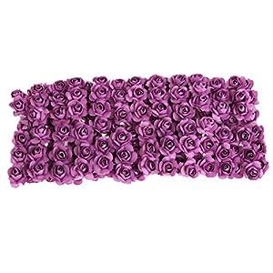 Misright 144pcs DIY Rose Mini Artificial Flowers Bouquet Solid Color Wedding Decoration (Light Purple) 16